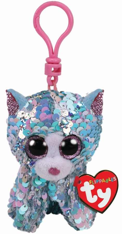 Plus Breloc Ty 8.5cm Sequins Pisica Whymsy Cu Paiete