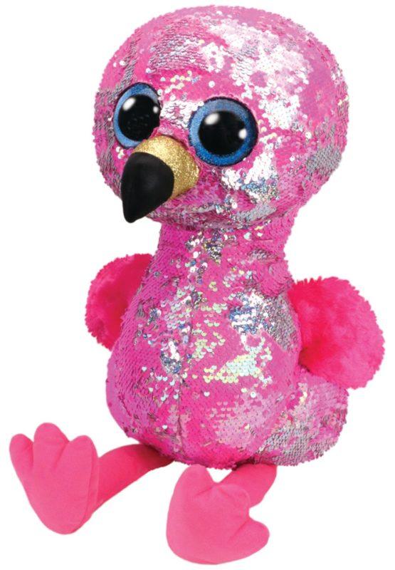 Plus Ty 42cm Boos Flamingo Roz Cu Paiete