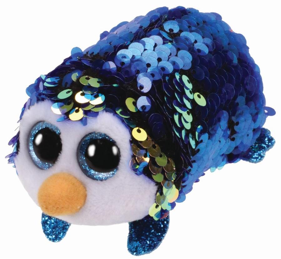 Plus Ty 10cm Teeny Tys Payton Pinguin Albastru Cu Paiete