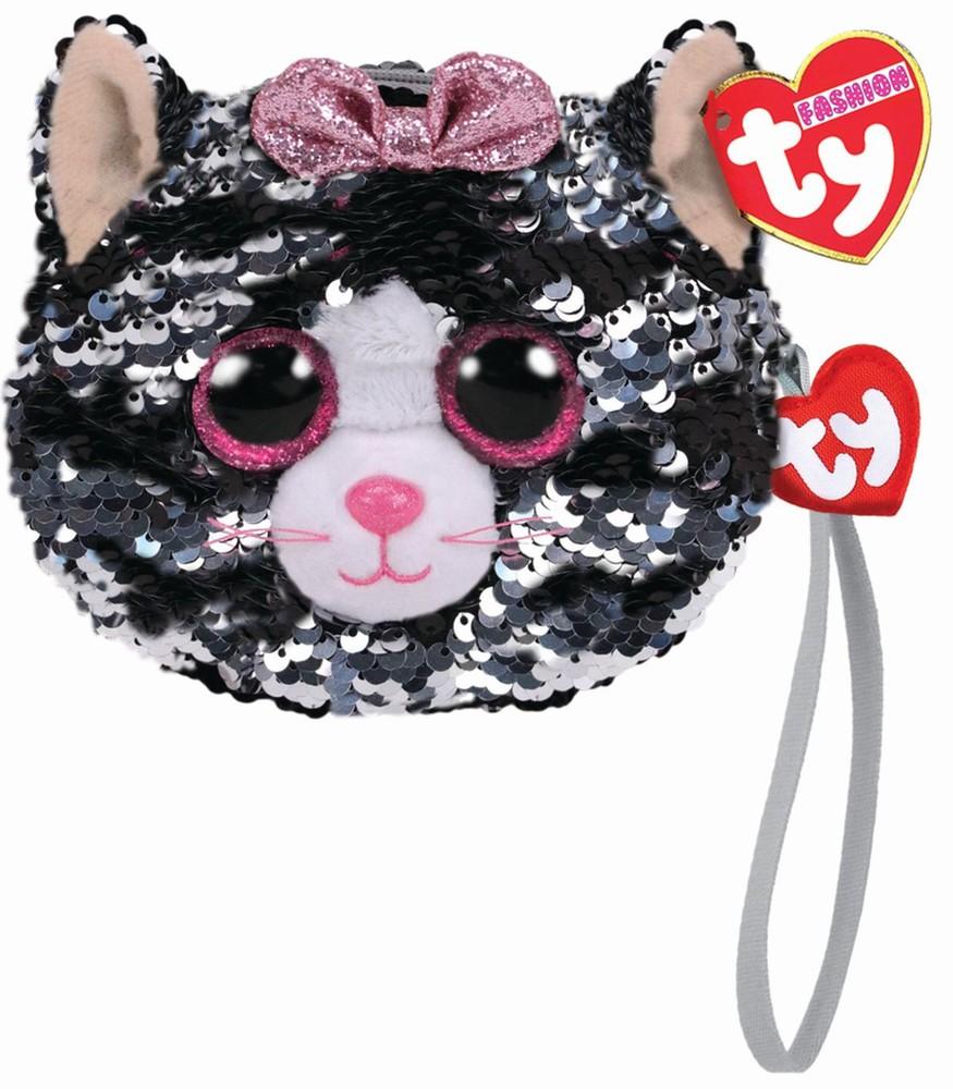 Gentuta De Mana Din Plus Ty 10cm Pisica Kiki Cu Paiete