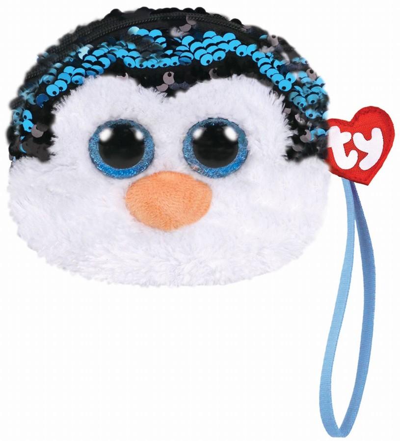 Gentuta De Mana Din Plus Ty 10cm Pinguinul Waddles  Cu Paiete