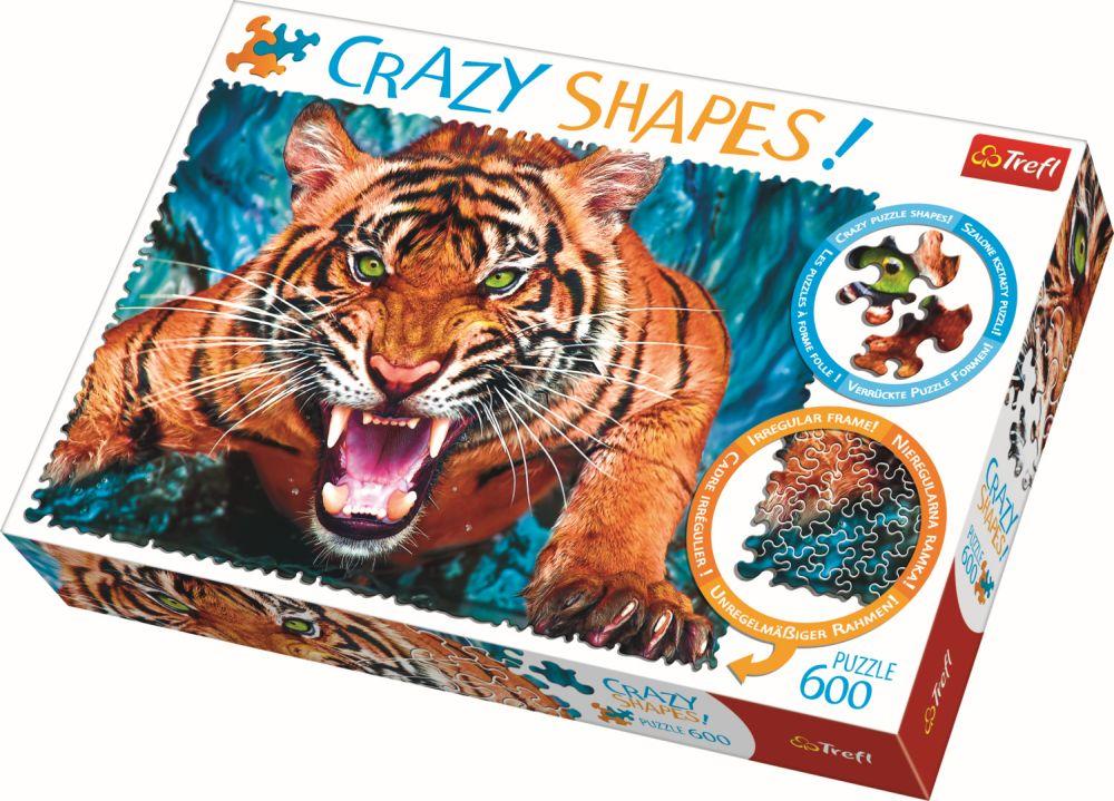 Puzzle Trefl 600 Cu Piese Ciudate – Fata In Fata Cu Tigrul