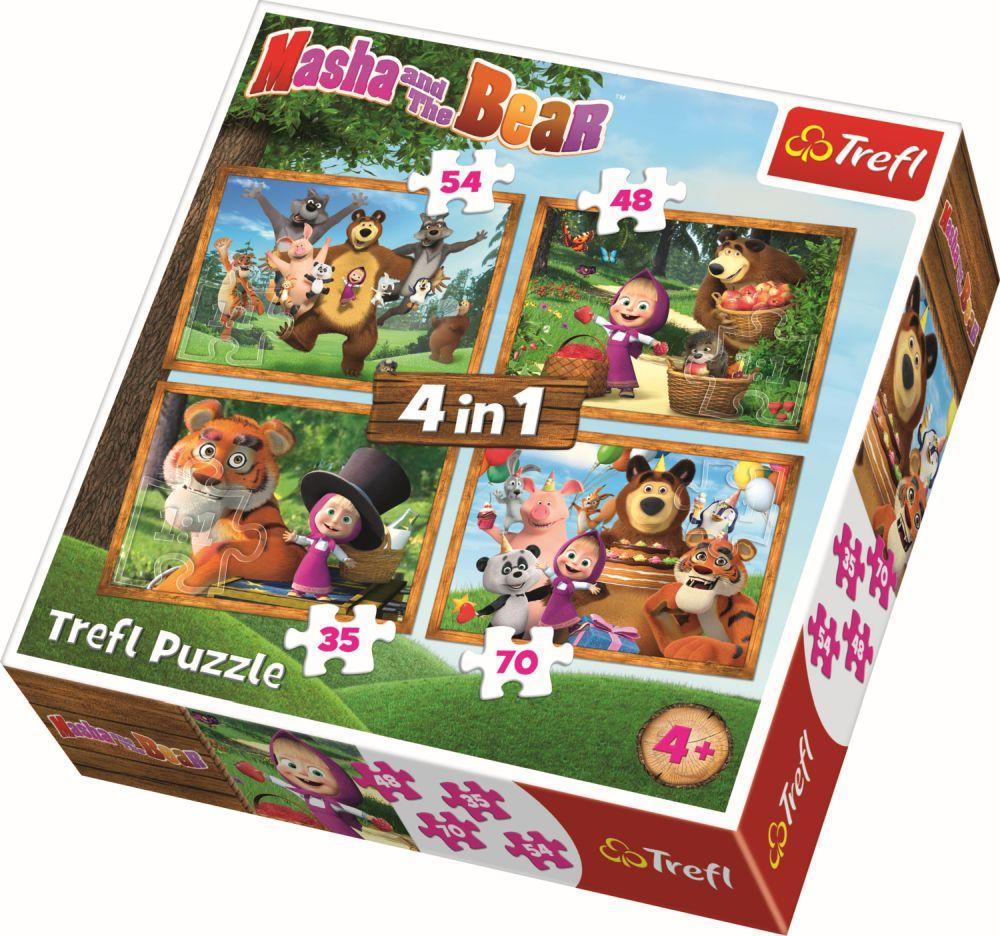 Puzzle Trefl 4in1 Masha Aventuri In Padure