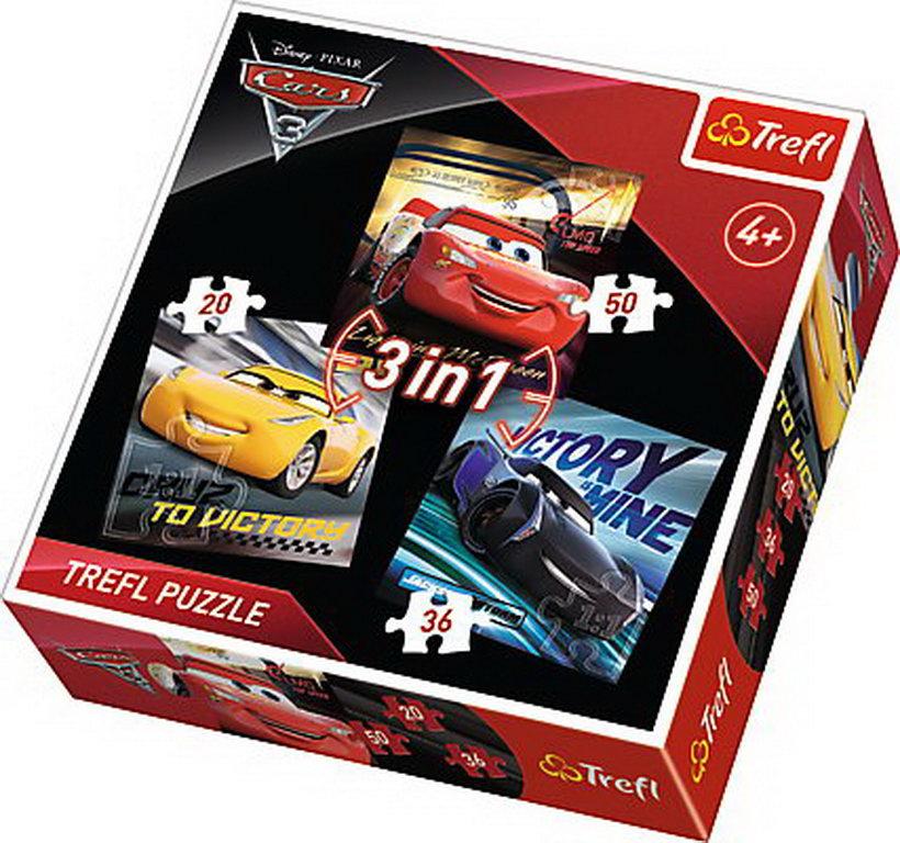 Puzzle Trefl 3in1 Legende Cars3