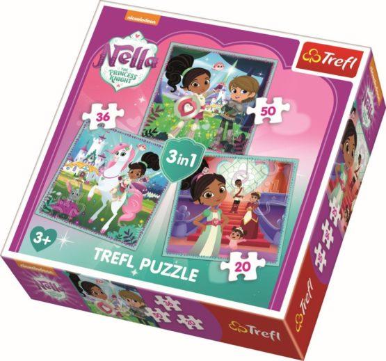 Puzzle Trefl 3in1 Printesa Cavaler