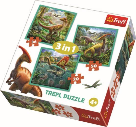 Puzzle Trefl 3in1 Lumea Extraordinara A Dinozaurilor