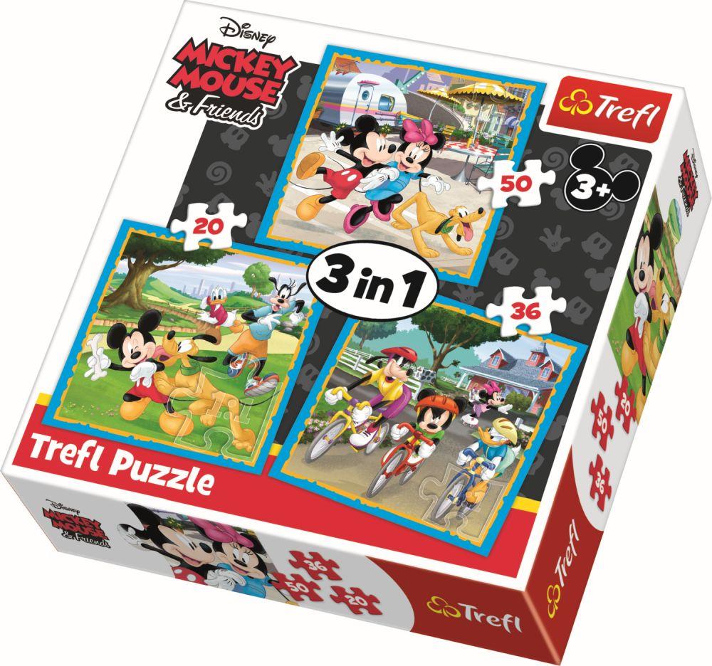Puzzle Trefl 3in1 Mickey Mouse Si Prietenii