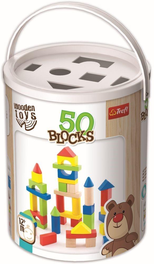Cutie 50 De Cuburi Colorate Din Lemn
