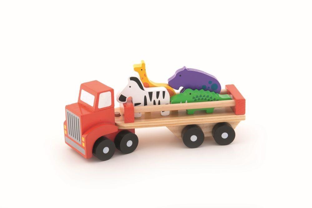 Camion Colorat Din Lemn Cu Animalute 27cm