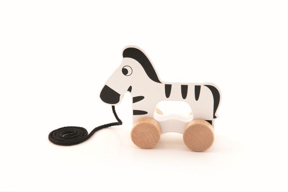 Zebra Din Lemn Cu Roti Si Snur