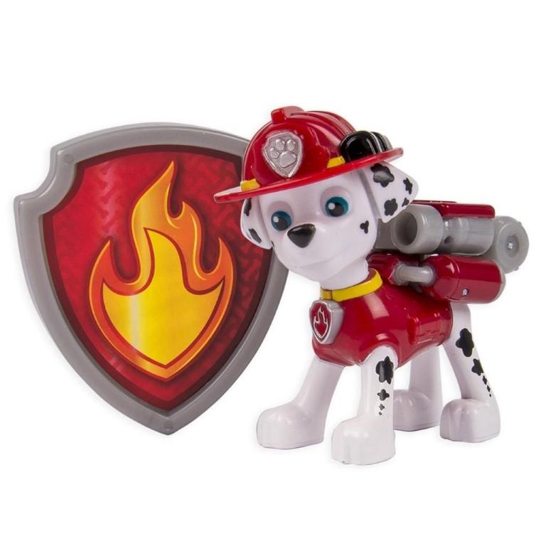 Figurina Si Insigna Paw Patrol Marshall Pompier 6.3 Cm