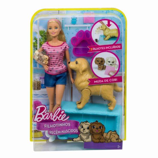 Papusa Barbie Blonda Cu Catelusa Si Puii Ei