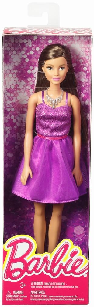 Papusa Barbie Tinute Stralucitoare Rochita Mov