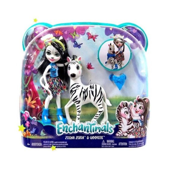 Enchantimals Set Papusa Cu Animalut Zebra Zelena