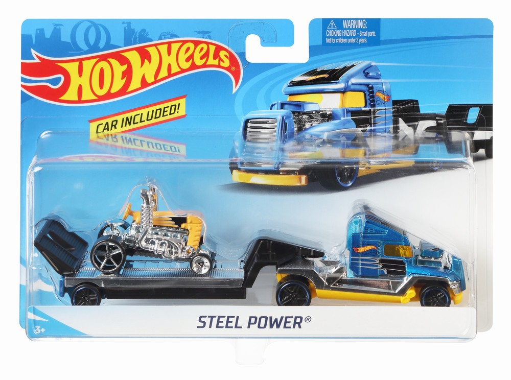 Set Camion Si Masina Sport Hot Wheels Steel Power