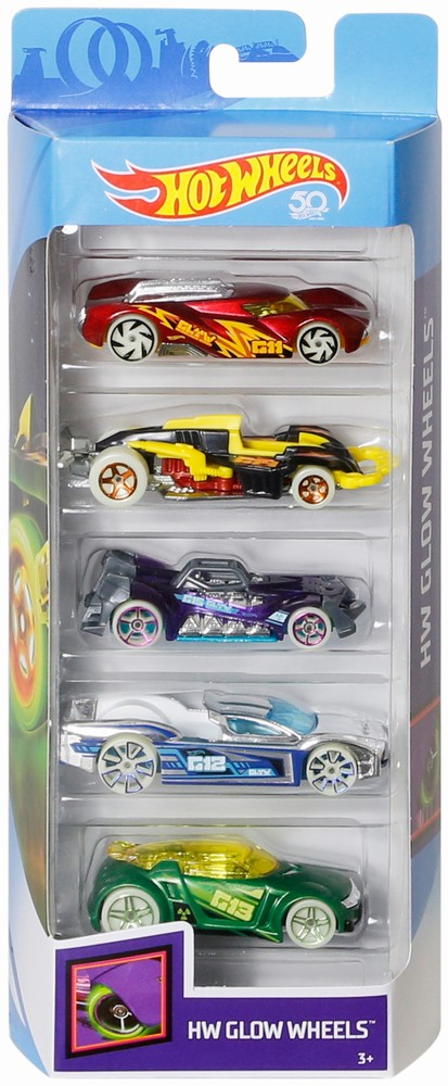 Set 5 Masini Hot Wheels Glow Wheels