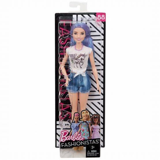 Papusa Barbie Fashionista Cu Par Stralucitor Mov