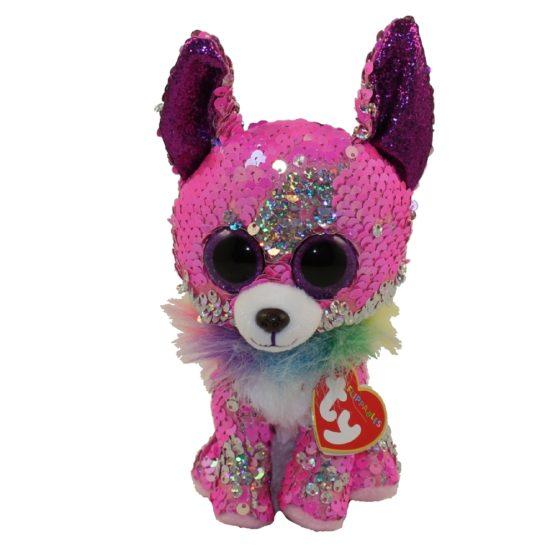 Plus Ty 15cm Boos Chihuahua Roz Cu Paiete