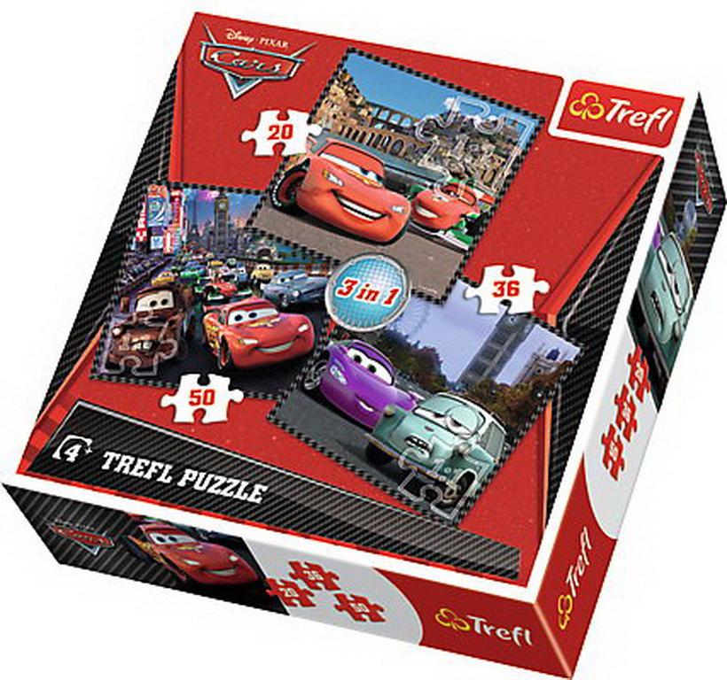 Puzzle Trefl 3in1 Calatorind In Europa Cars