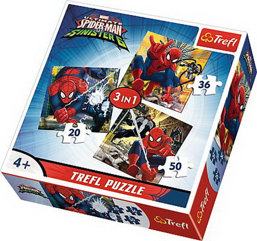 Puzzle Trefl 3in1 Lumea Lui Spiderman