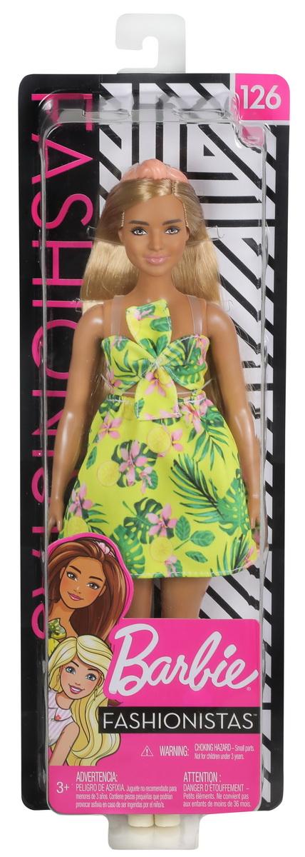 Papusa Barbie Fashionista Blonda Cu Rochita Verde Inflorata