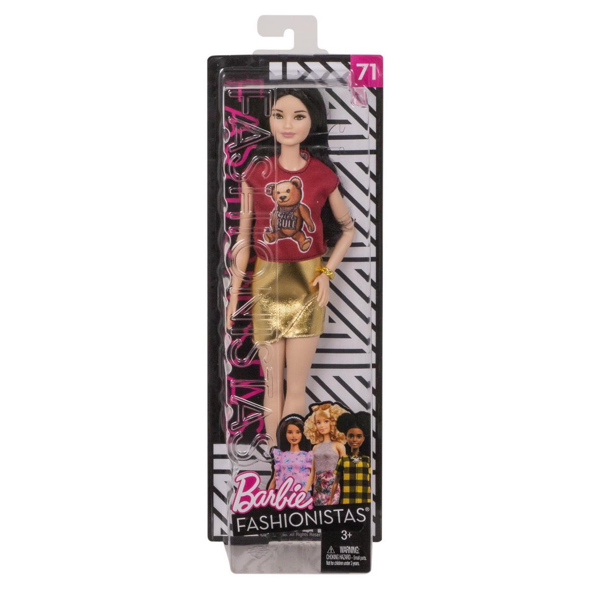 Papusa Barbie Fashionista Cu Tricou Girls Rule