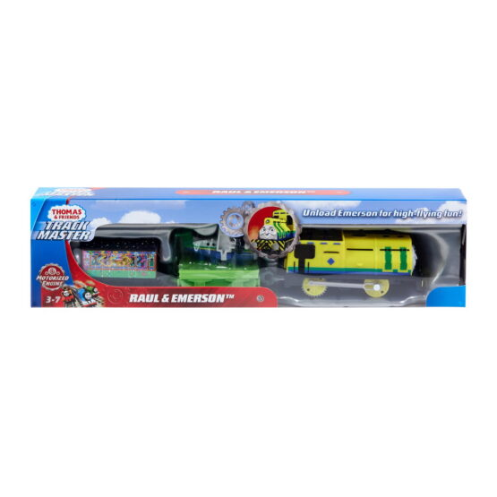Thomas Locomotiva Raul Si Emerson Motorizata Cu 2 Vagoane Si Accesorii