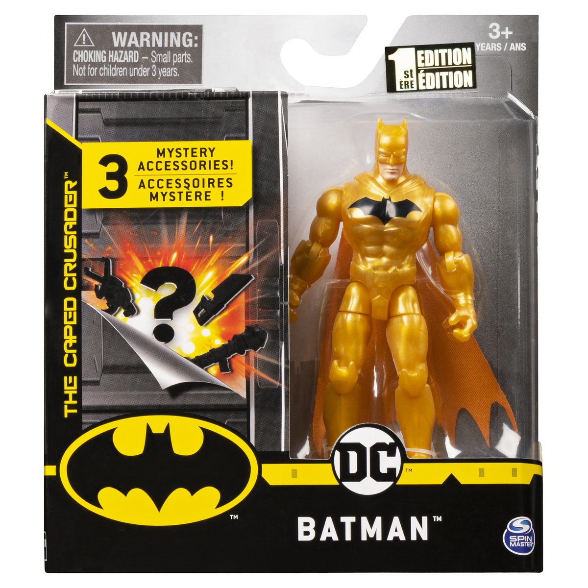 Figurina Batman Auriu 10cm Cu 3 Accesorii Surpriza