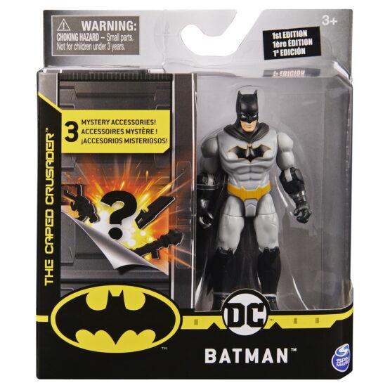 Figurina Batman 10cm Cu Costum Gri Si 3 Accesorii Surpriza