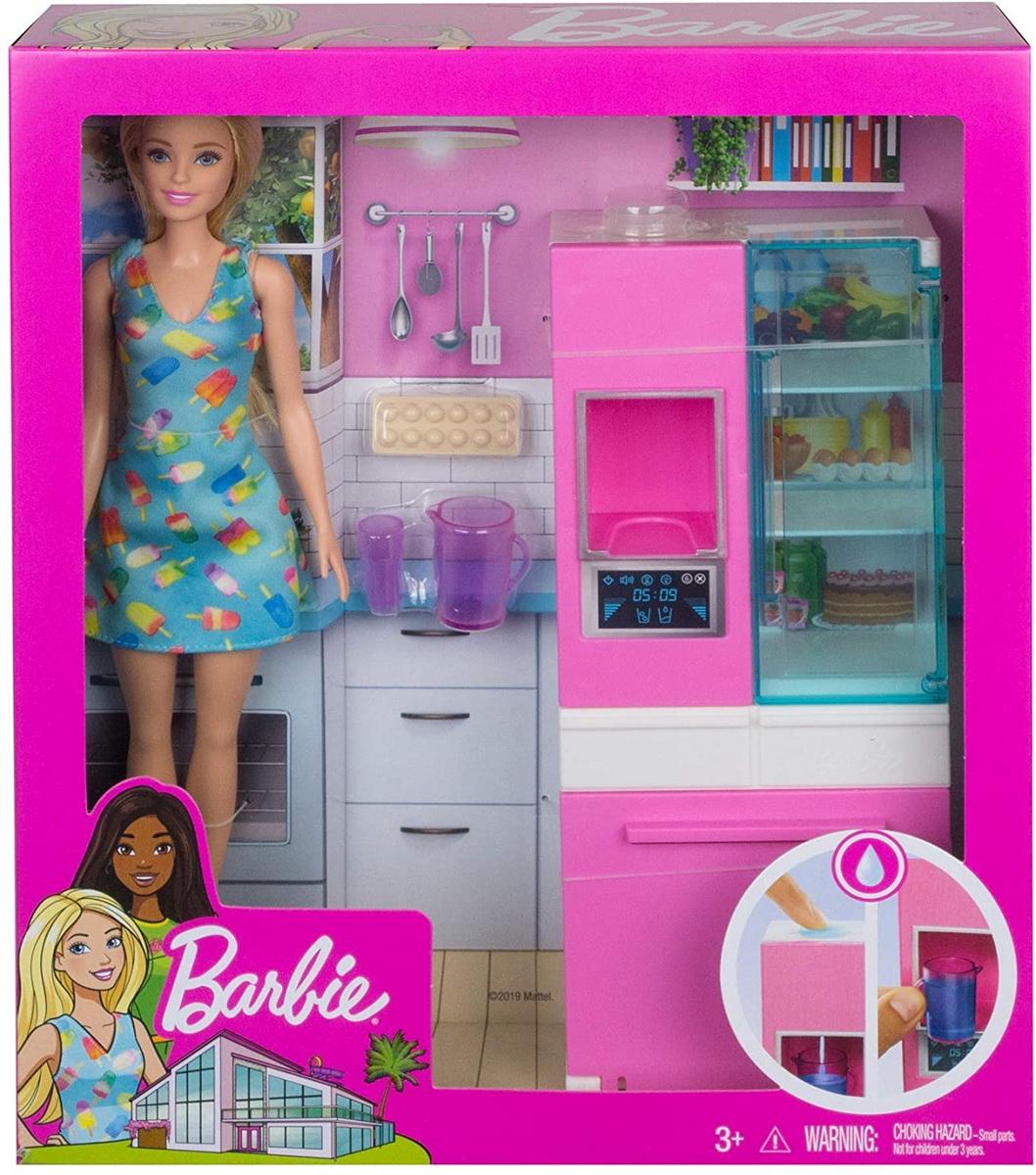 Barbie Set Mobilier Bucatarie Cu Papusa Blonda