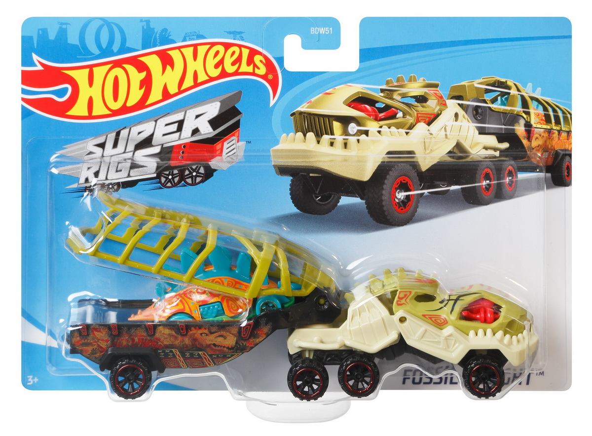 Set Camion Si Masina Sport Hot Wheels Fossil Night