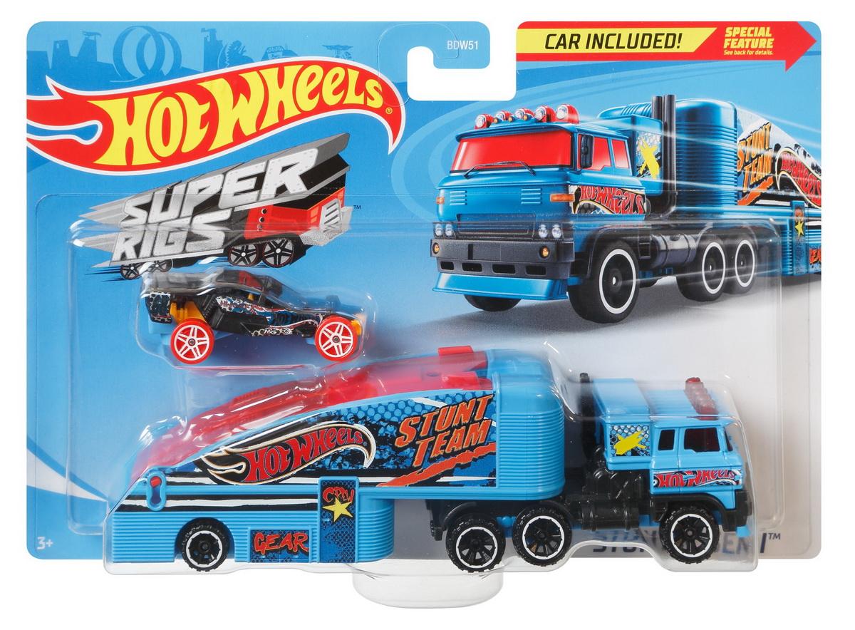 Set Camion Si Masina Sport Hot Wheels Stuntin Semi