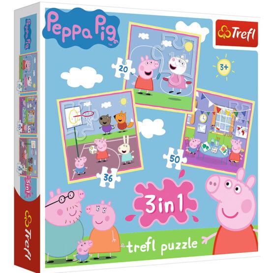 Puzzle Trefl 3in1 Peppa Pig Activitati Scolare