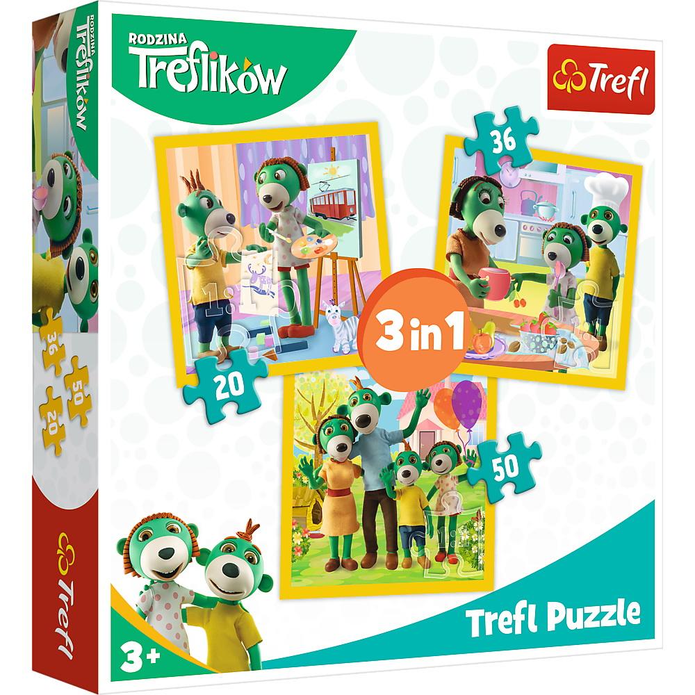 Puzzle Trefl 3in1 Distractie In Familia Trefiliki
