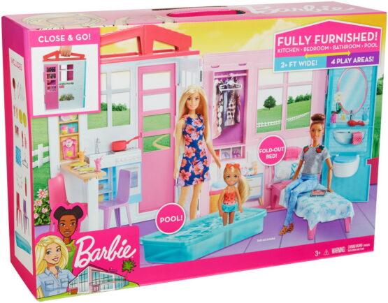 Barbie Casa Portabila Cu Bucatarie Dormitor Baie Si Piscina