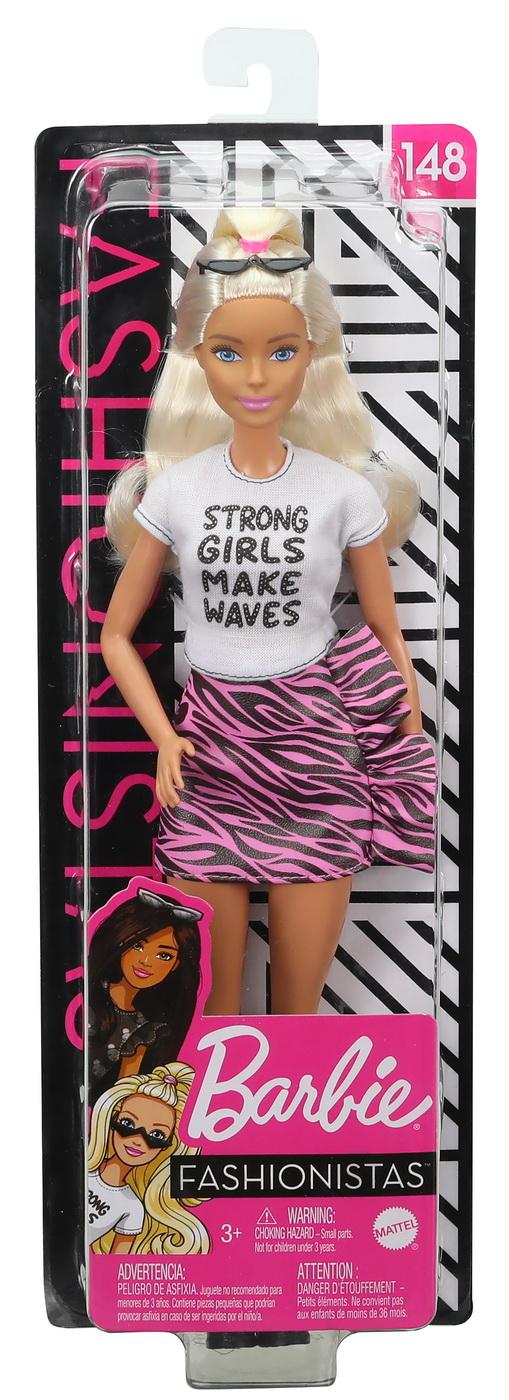 Papusa Barbie Fashionista Blonda Cu Tricou Chic Alb