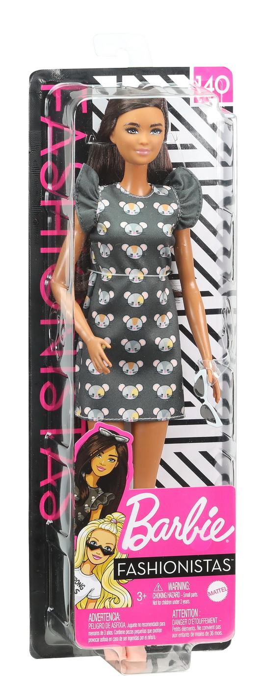 Papusa Barbie Fashionista Bruneta Cu Rochita Mouse Print