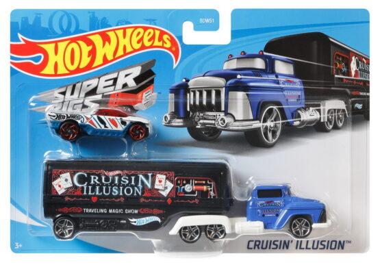 Set Camion Si Masina Sport Hot Wheels Cruisin Illusion