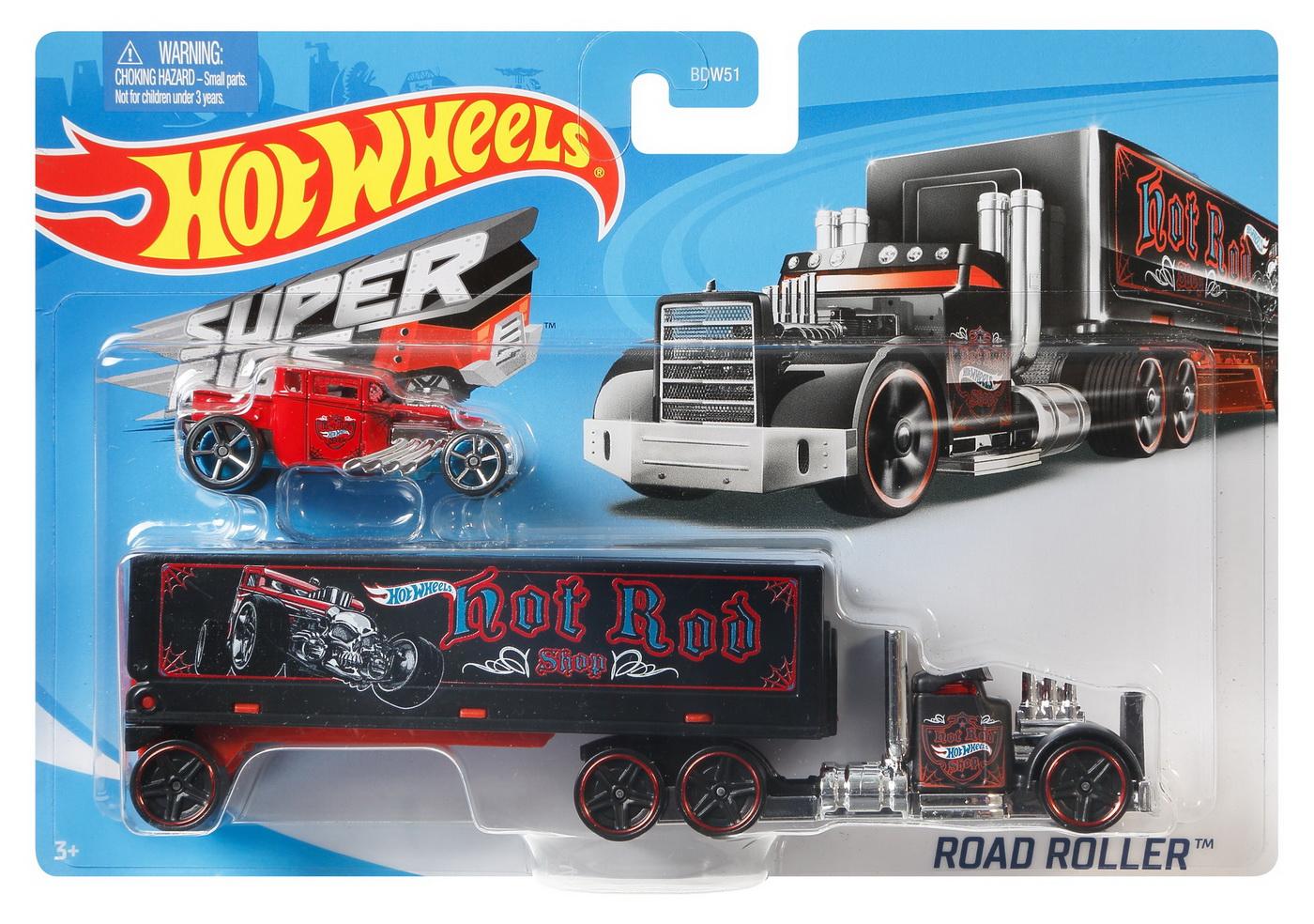 Set Camion Si Masina Sport Hot Wheels Road Roller
