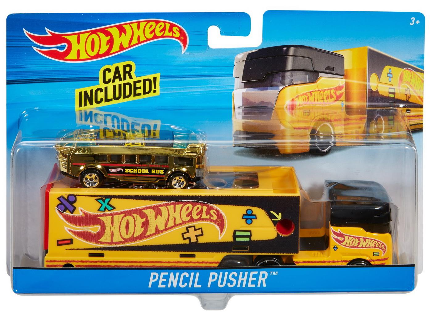 Set Camion Si Masina Sport Hot Wheels Pencil Pusher