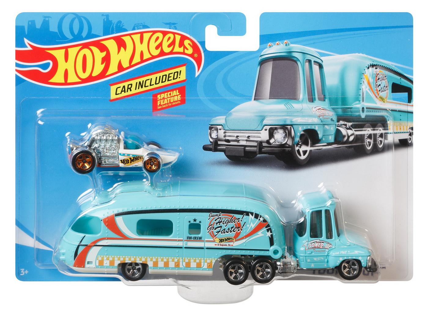 Set Camion Si Masina Sport Hot Wheels Tooned Up Blue