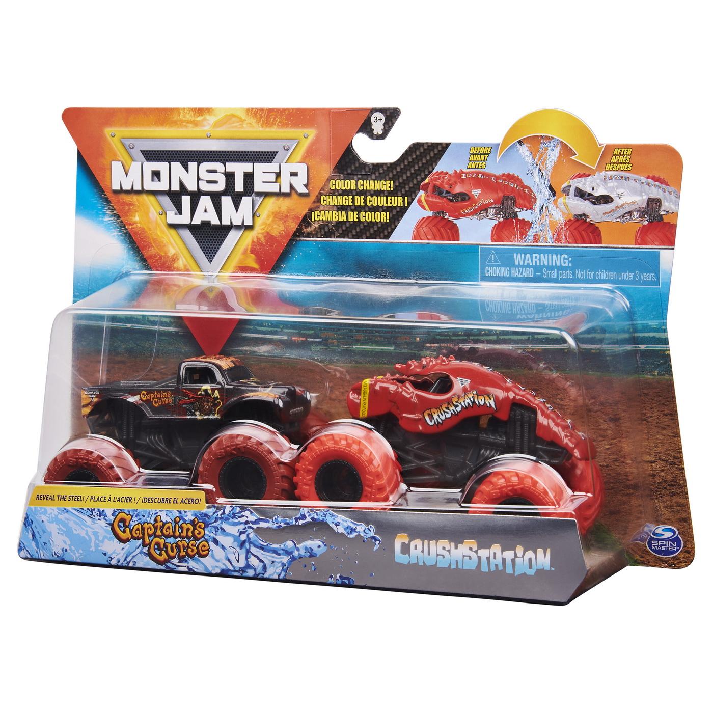 Monster Jam Set 2 Masinute Blestemul Capitanului Si Crush Station Color Change