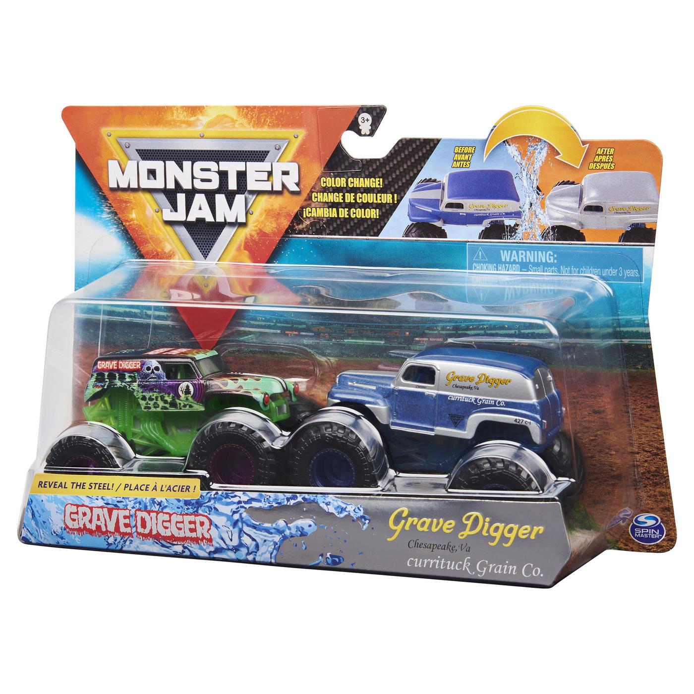 Monster Jam Set 2 Masinute Grave Digger Si Grave Digger Chesapeake Color Change