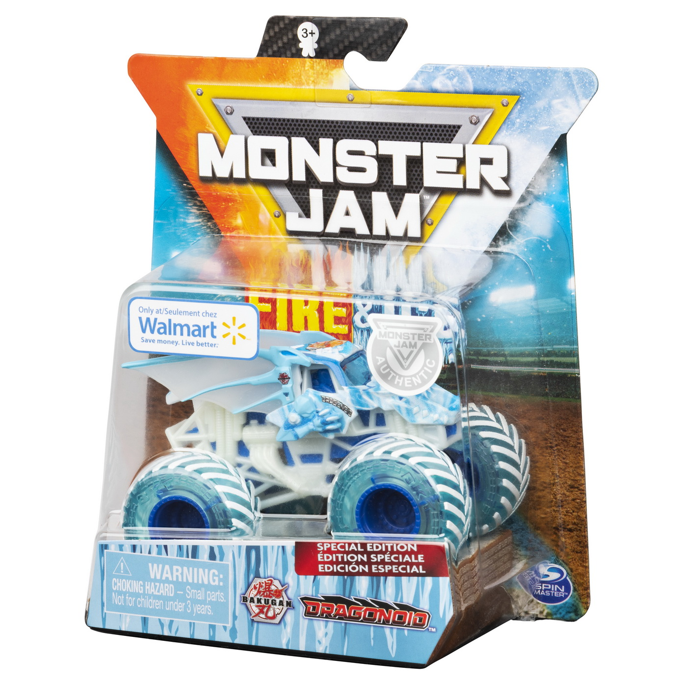 Monster Jam Masinuta Metalica Fire And Ice Bakugan Dragonoid