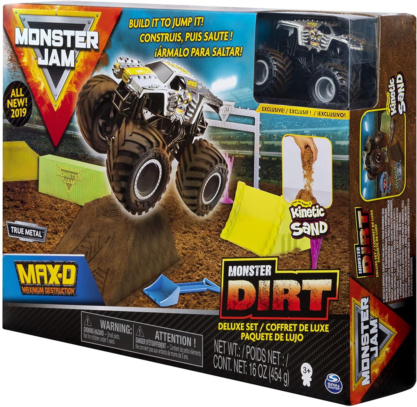 Monster Jam Set Camioneta Max-d Cu Nisip Kinetic Si Accesorii Maxfun