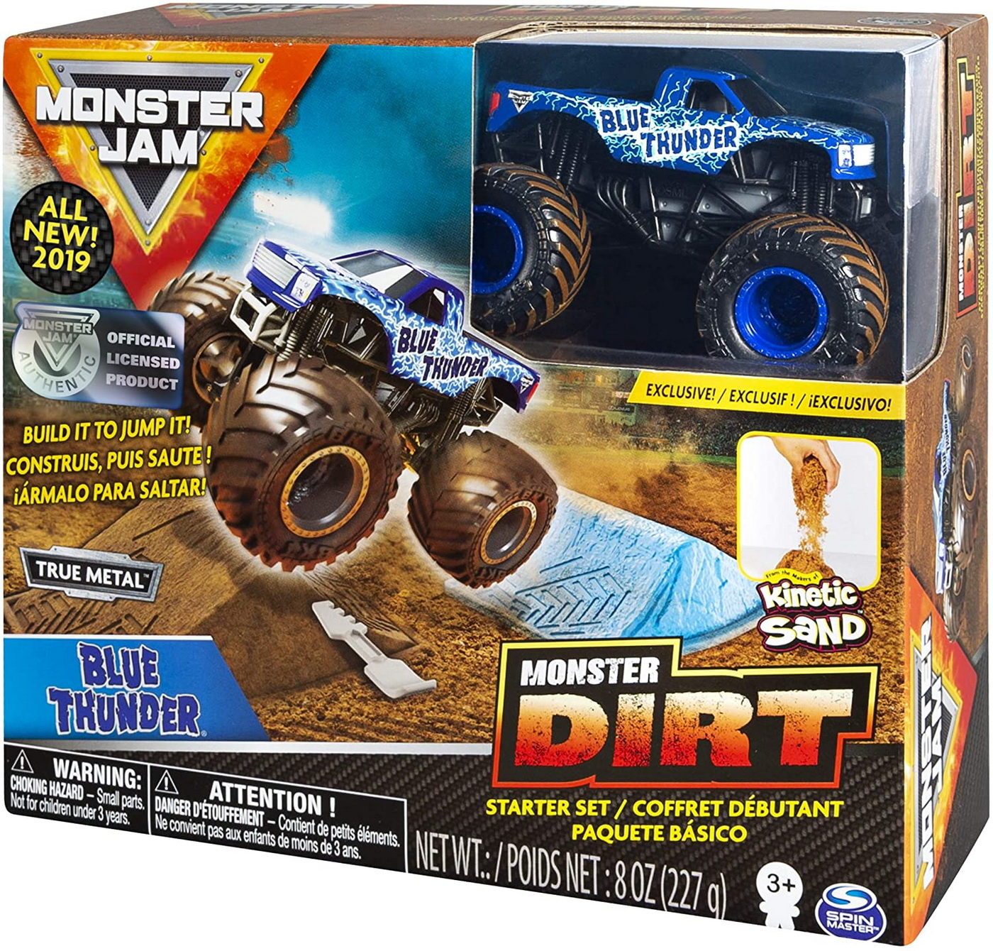 Monster Jam Set Camioneta Cu Nisip Kinetic Thunder Blue