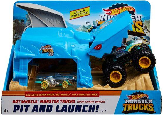 Hot Wheels Lansator Monster Truck Rechinul Cu Doua Masinute