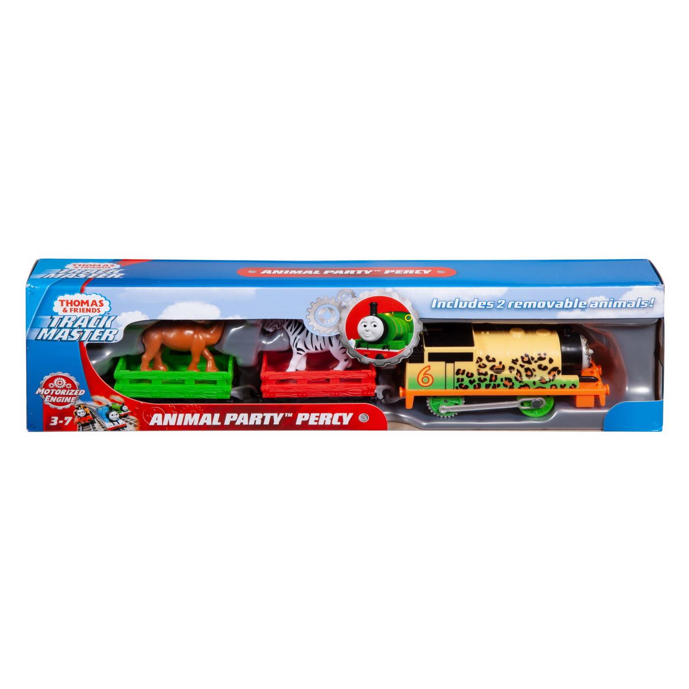 Thomas Locomotiva Percy Animal Party Motorizata Cu 2 Vagoane