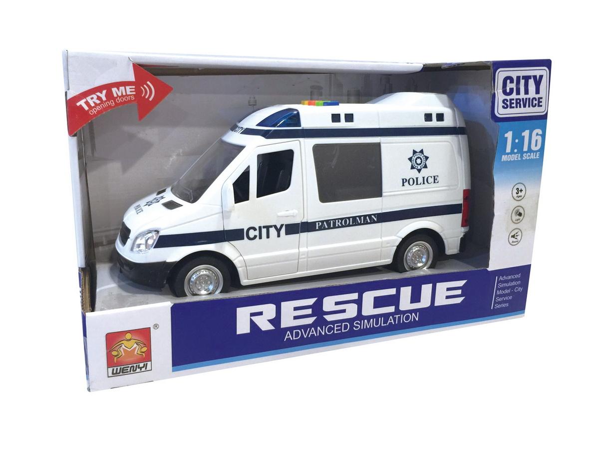 Masinuta Camioneta De Politie Cu Frictiune Sunete Si Lumini Scara 1 La 16