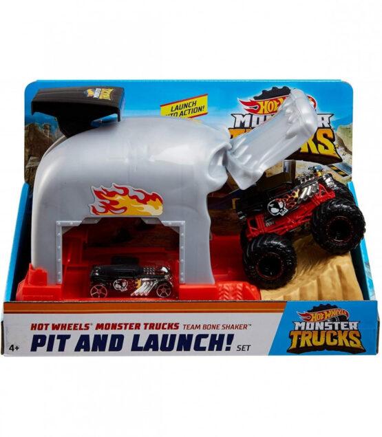 Hot Wheels Lansator Monter Truck Craniul Cu Doua Masinute
